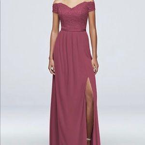 David's bridal bridesmaid dress. Color: Chianti